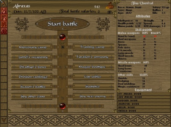 Battles of Norghan | Menu