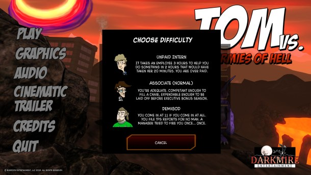 Tom vs. The Armies of Hell | Three difficulty levels with creative names.