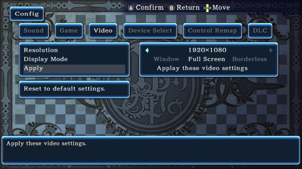 Monster Monpiece | Graphics config screen