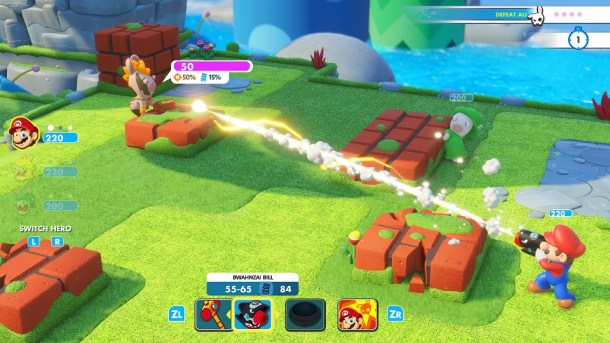Mario Rabbids Kingdom Battle | Mario fights with his gun.