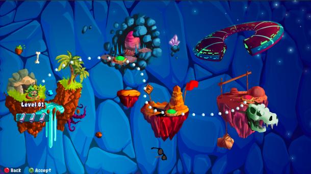 Caveman Warriors | Level select screen