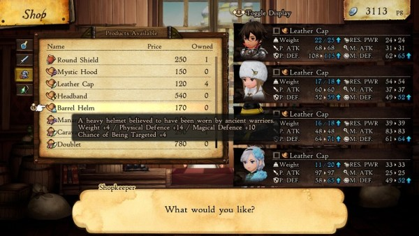 Bravely Default II | Checking details on some equipment for sale