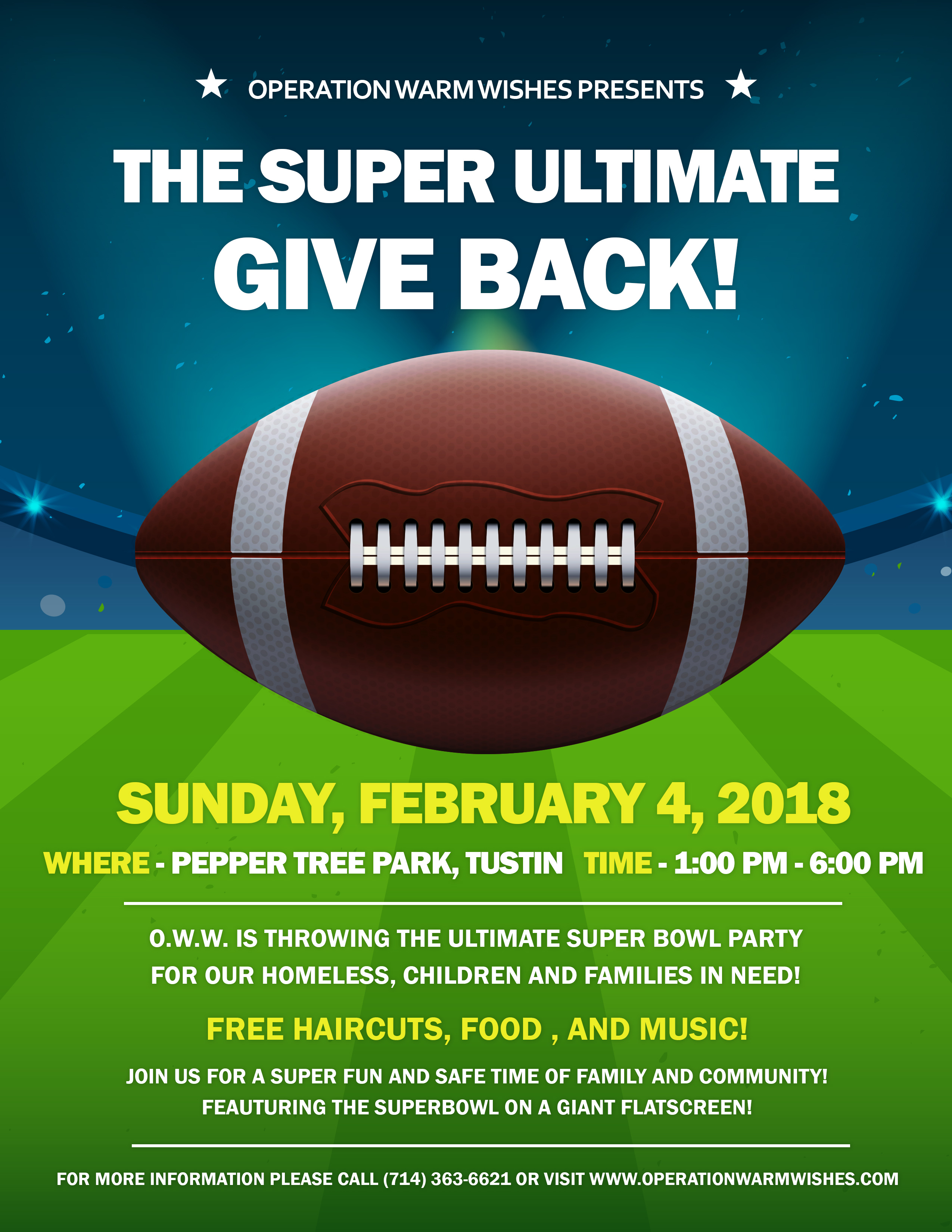The Ultimate Super Bowl Party For Our Homeless And Families In Need Operation Warm Wishes