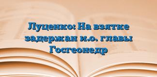 Луценко: На взятке задержан и.о. главы Госгеонедр