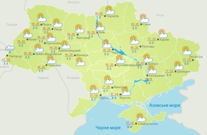 Погода в Украине на 5 мая. Карта: Укргидрометцентр