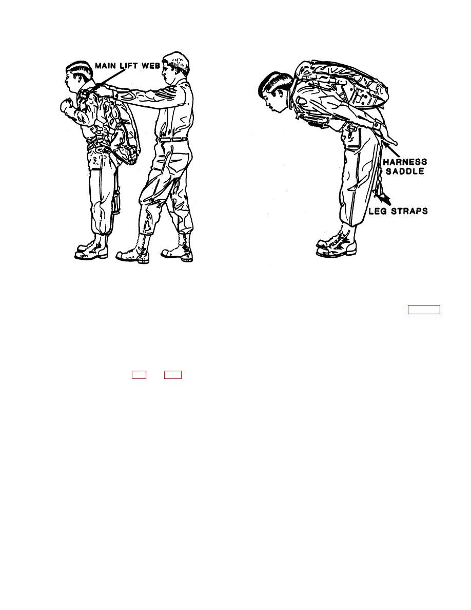 Figure 2-2. Donning the Parachute Harness, Typical.