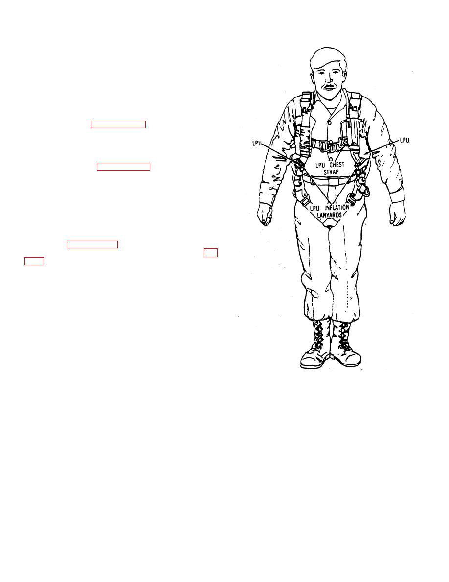 Figure 2-21. Life Preserver Unit Worn With Parachute, Typical