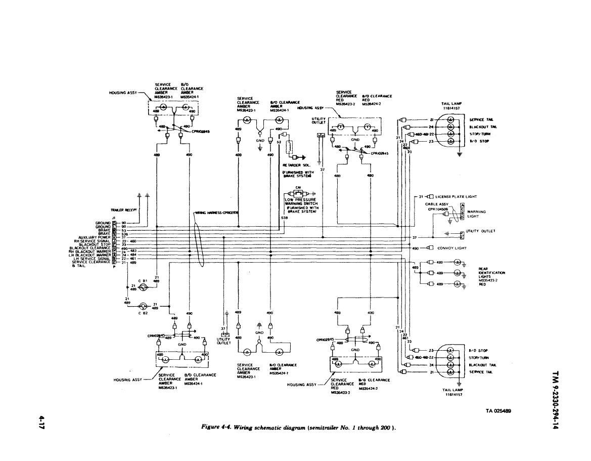 FIGURE 4 4 WIRING SCHEMATIC DIAGRAM SEMITRAILER NO 1 THROUGH 200
