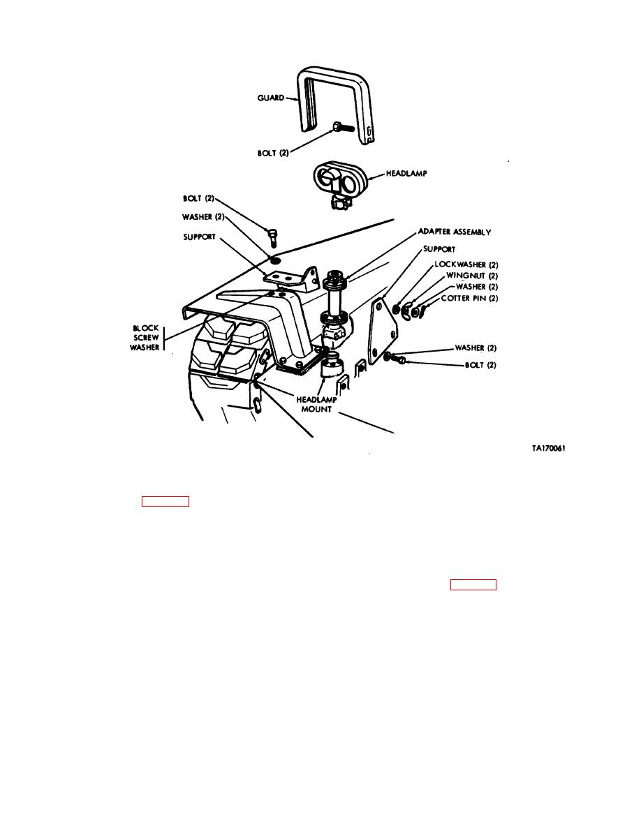 Figure 10-8. Removal or installation of headlamp adapter