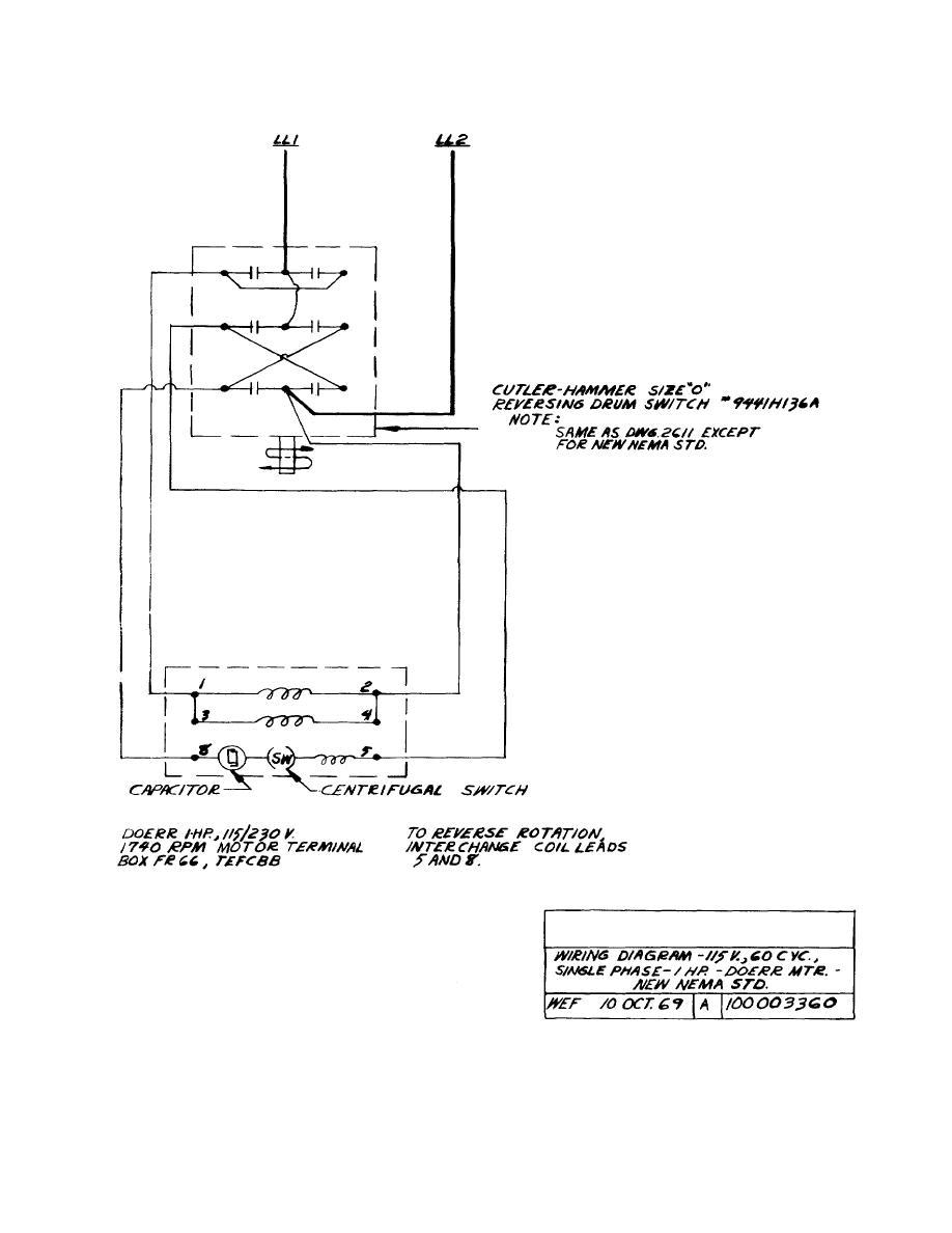 WIRING DIAGRAM 115V 60 C VC SINGLE PHASE I HP DOERR MTR