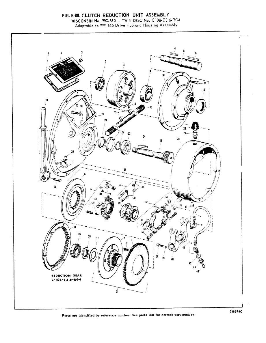 FIG. B-89. CLUTCH REDUCTION UNIT ASSEMBLY