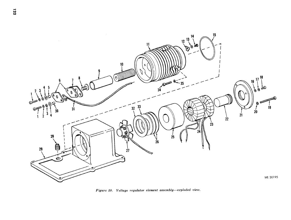 Figure 59 Voltage Regulator Element Assembly Exploded View