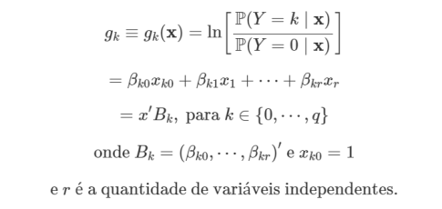 fórmula para previsão da variável resposta numa regressão logística multinomial