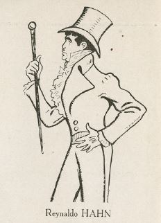 A caricature of Reynaldo Hahn as Beau Brummell by Rip (Georges Gabriel Thenon), 1931.