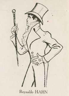 A caricature of Reynaldo Hahn as Beau Brummell by Rip (Georges Gabriel Thenon), 1931.