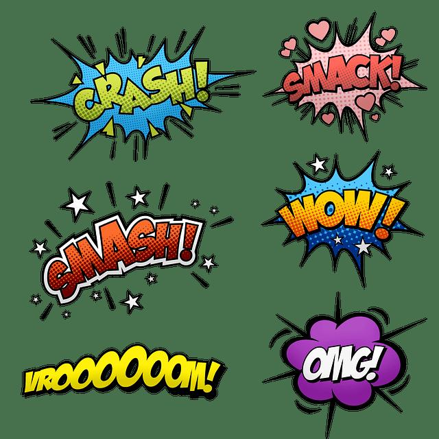 Onomatopées de bande dessinée dans des bulles colorées.