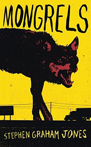 Couverture du roman en version originale : sur fond de couverture jaune, un loup géant montre les dents entre lignes électriques et camion de marchandise.