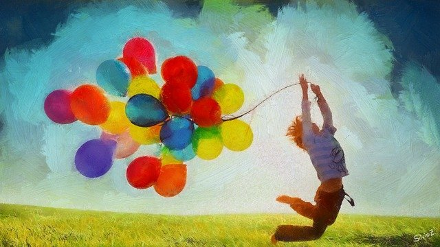 Peinture d'un enfant sautant dans l'herbe, tirant derrière lui des dizaines de ballons flottants colorés.