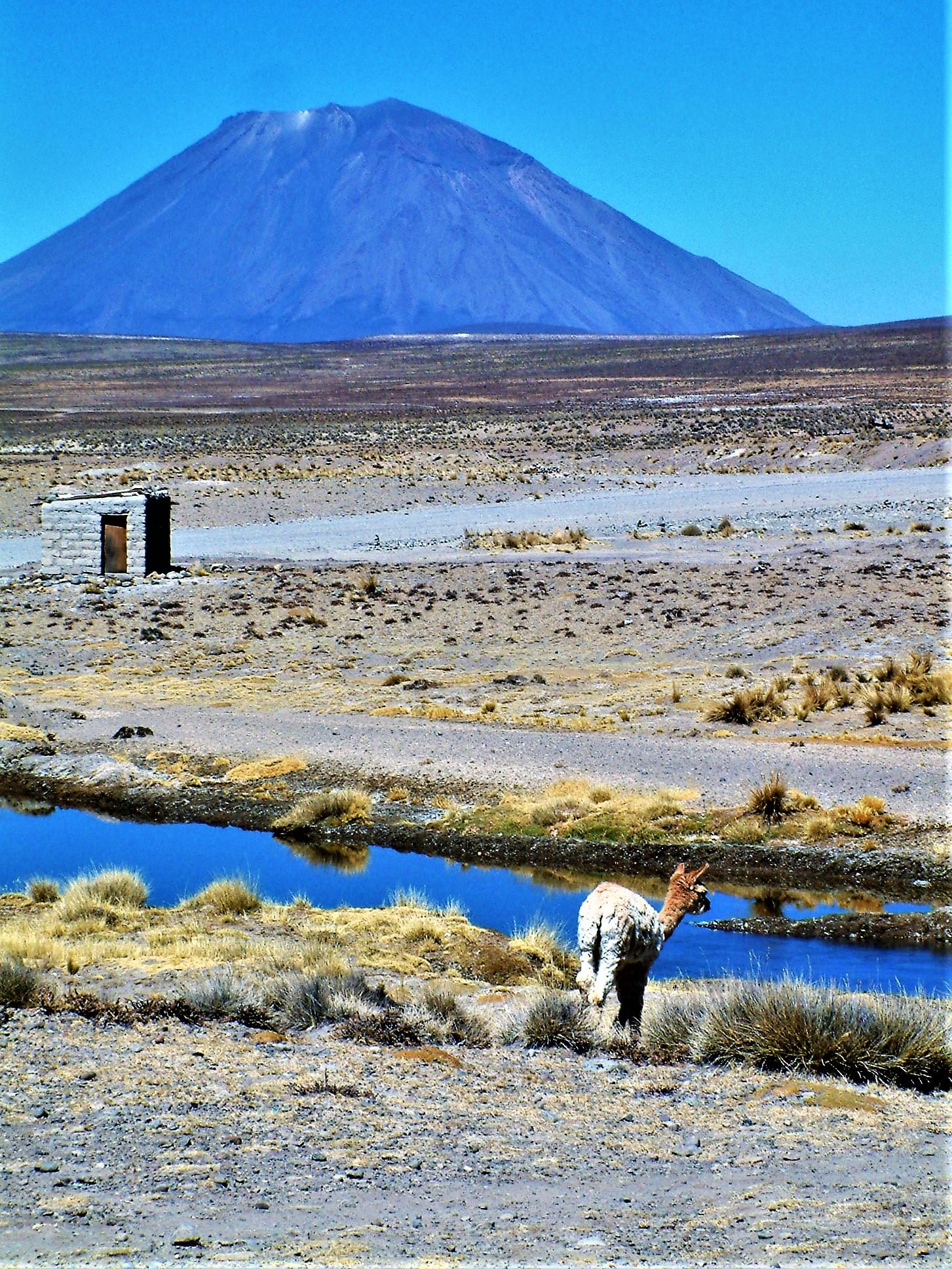 Peru  Volcanoes Spinning Yarn and strange green rocklike
