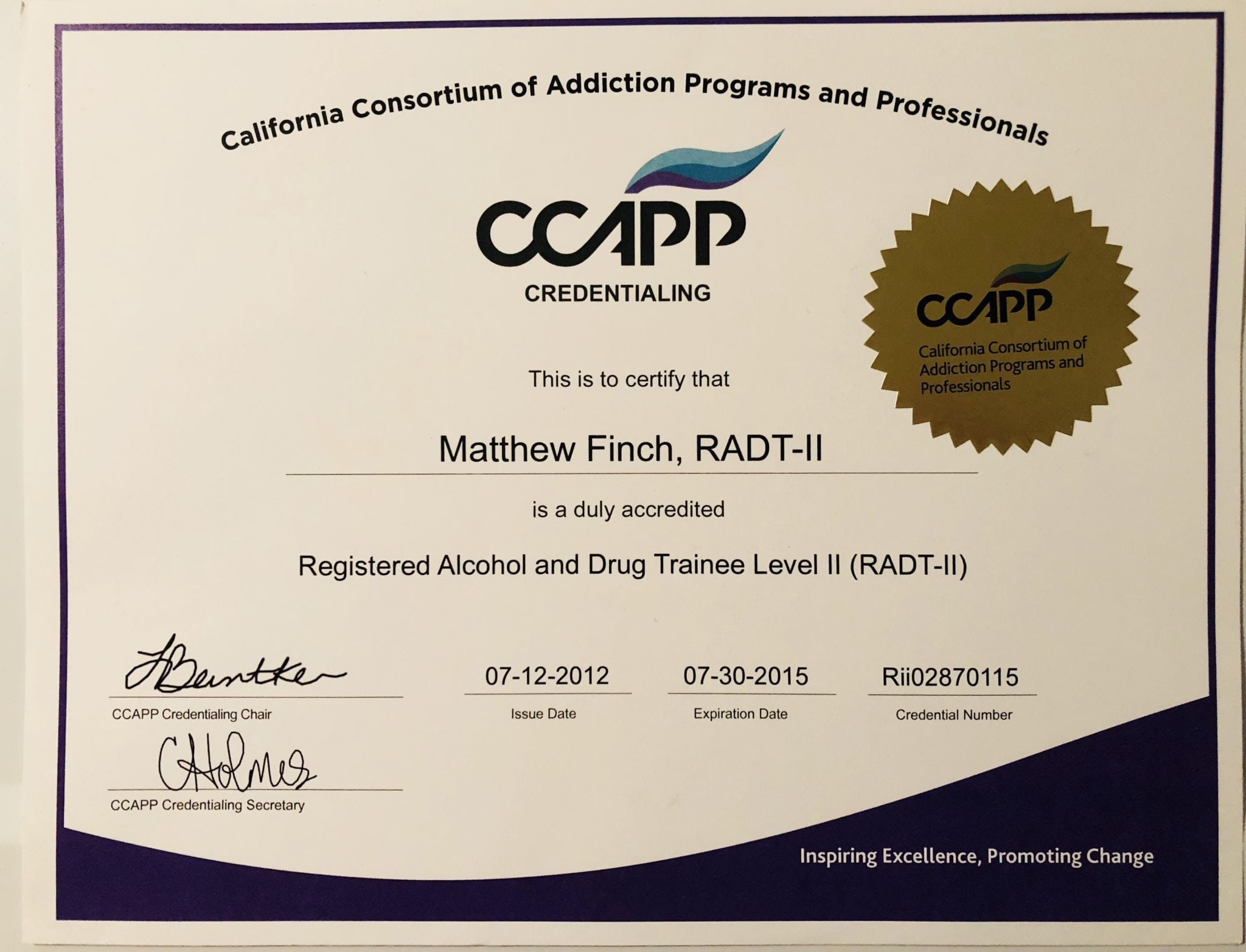 Professional certifications achievements awards opiate 9 17 12 graduated from mueller college with a certificate of completion of the 720 hour alcohol and drug counseling 1betcityfo Choice Image