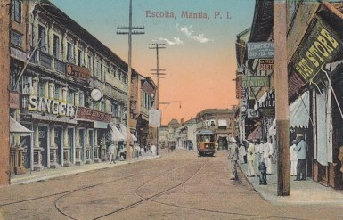 Postcard image of Manila, with Corinthian columns on the upper left. Source: http://bit.ly/1XtxnXZ