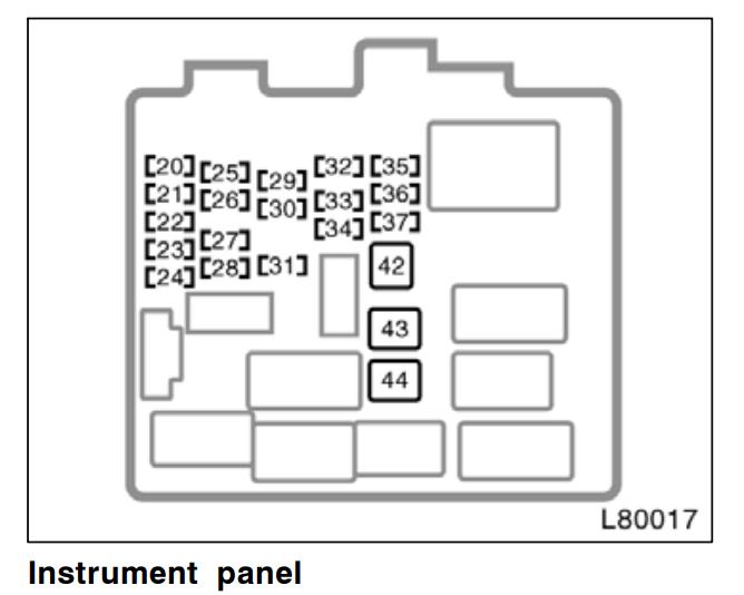 2000 Toyota Camry Interior Fuse Box Diagram