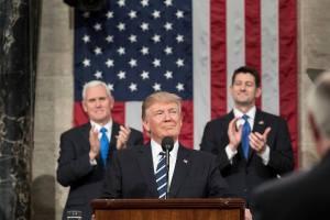 Donald Trump s'adressant au Congrès en mars 2017