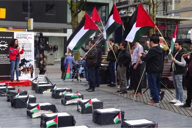Gazademonstratie Schouwburgplein Rotterdam