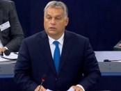 Viktor Orbán in zijn toespraak voor het Europees Parlement (11 september 2018).
