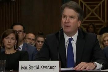 Kandidaat voor het Hooggerechtshof Kavanaugh tijdens de Senaat-hoorzitting over de #metoo-beschuldiging (28 september 2018).