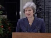 Theresa May tijdens haar persverklaring over het vertrouwensvotum (12 december 2018).