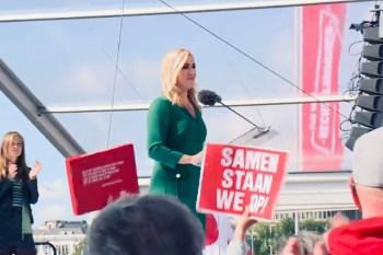 Politiek leider SP Lilian Marijnissen op een manifestatie in Rotterdam (15 september 2018).
