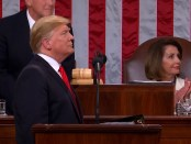 Donald Trump tijdens de State of the Union 2019