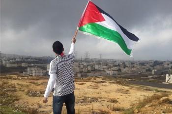 Man zwaait met Palestijnse vlag bij Bet El (West Bank)