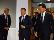 Donald Tusk en Mark Rutte bij de Europese Raad (10 april 2019)
