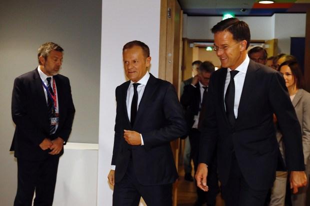 Donald Tusk en Mark Rutte bij de Europese Raad (10 april 2019)