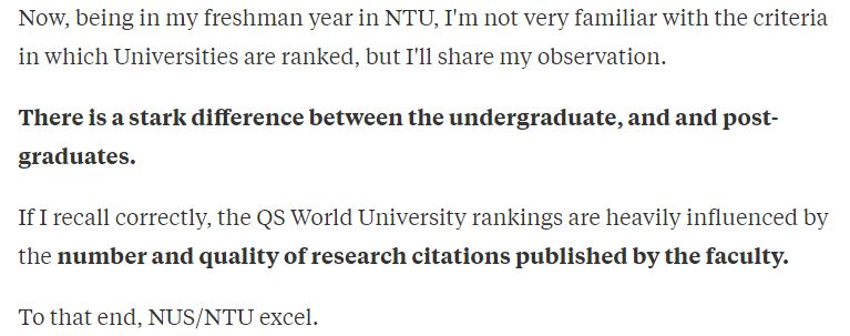 NTU NUS difference between undergraduate postgraduate UG PG