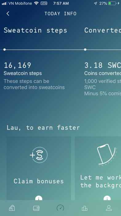 Sweatcoin conversion page