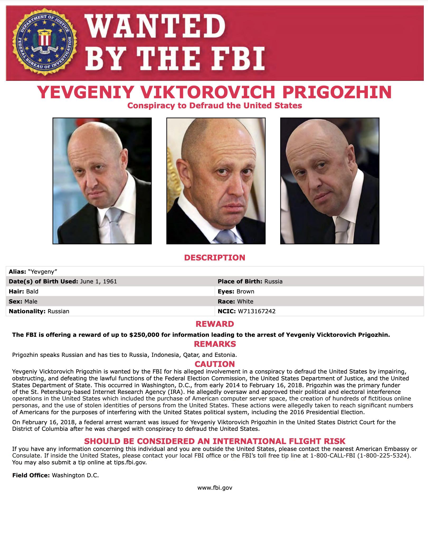 Wanted by FBI: YEVGENIY VIKTOROVICH PRIGOZHIN