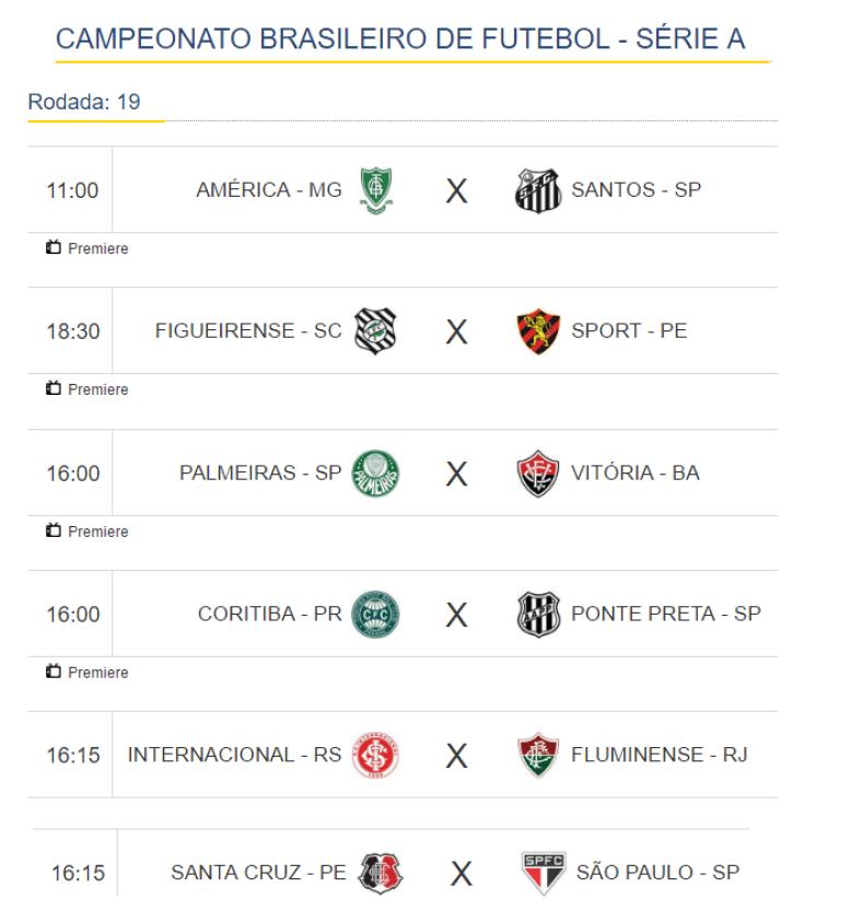 BRA Campeonato Brasileiro de Futebol jogos de hoje