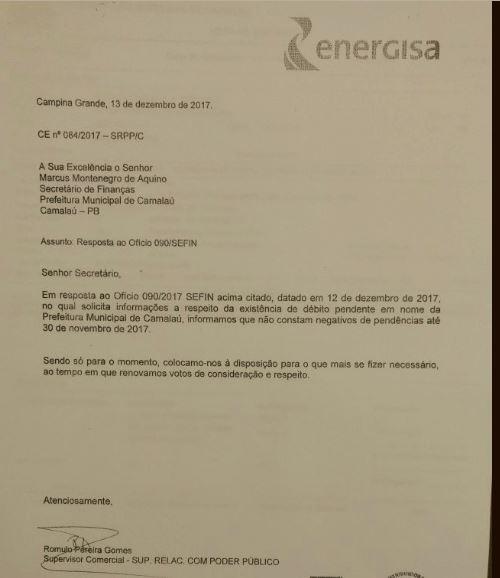 Capturar2-3 Apôs denúncia prefeitura de Camalaú esclarece notificação de dívidas com a energisa