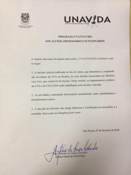 0b7fe160-a751-4725-951e-d4412ef3d544 Universidade Estadual Vale do Acaraú emite nota sobre suspensão de atividades.