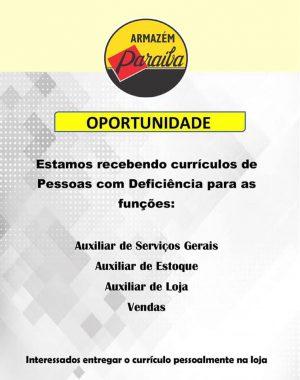 oportunidade-de-emprego-300x380 O Armazém Paraíba oferece vagas de Emprego para pessoas com deficiência em Monteiro.