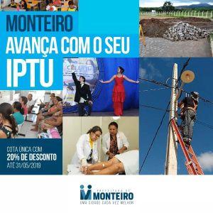IPTU-2019 Prazo do IPTU com desconto termina nesta sexta para monteirenses