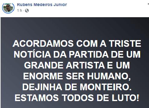 """inter-7 Internautas lamentam morte do cantor Dejinha de Monteiro """"A cultura está de luto"""""""