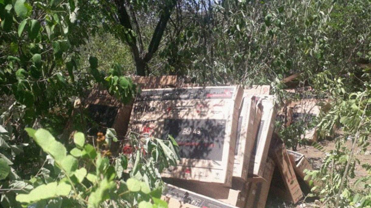 2105152ut Carga de TVs roubadas em Sertânia é recuperada na zona rural de Iguaracy