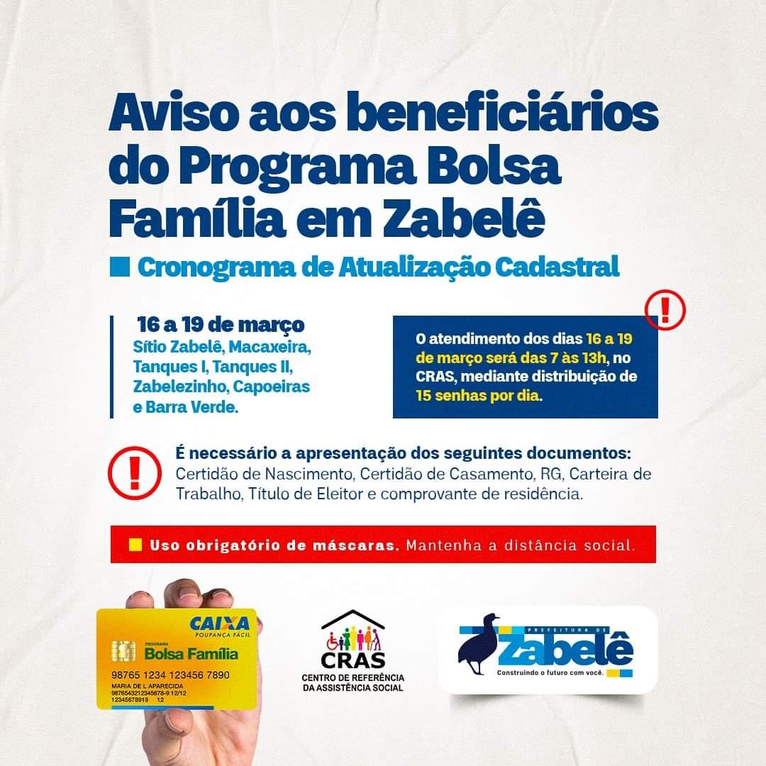 FB_IMG_1615899384292 Prefeitura de Zabelê convoca beneficiários do Bolsa Família para recadastramento