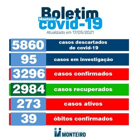 1705-2 Secretaria de Saúde de Monteiro divulga boletim oficial sobre covid desta segunda-feira