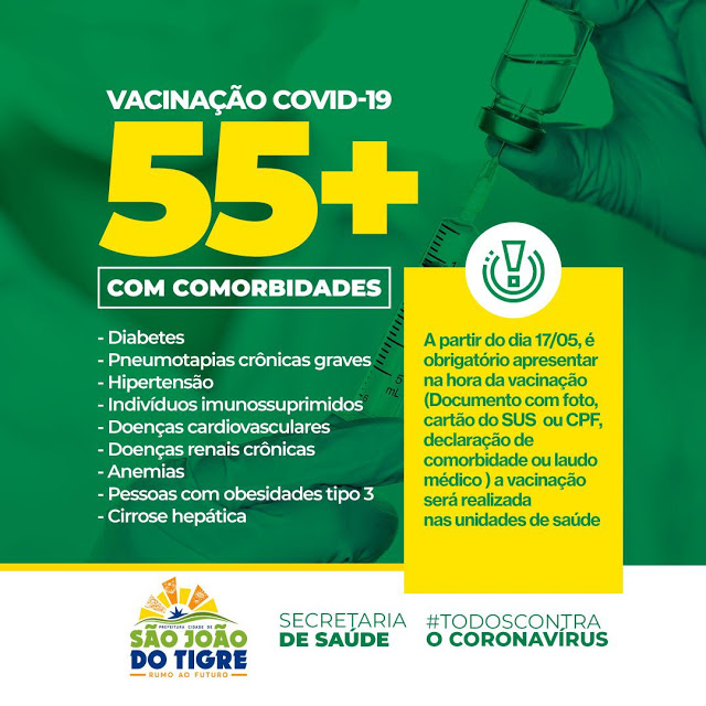 20-vacinatigre Secretaria de saúde de São João do Tigre confirma início da vacinação para pessoas, acima de 55, com comorbidades a partir da próxima segunda, 17