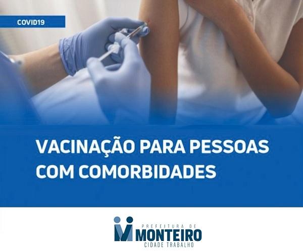VACINA COVID 19: Secretaria de Saúde de Monteiro inicia vacinação para pessoas com Comorbidades nesta quarta-feira